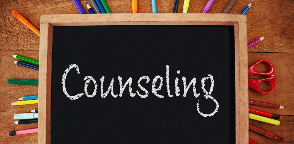 The word Counseling written on a blackboard