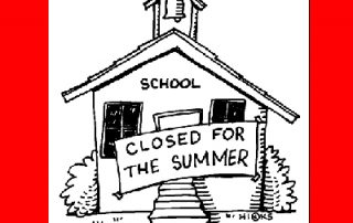 School with sign on front that says Closed For The Summer